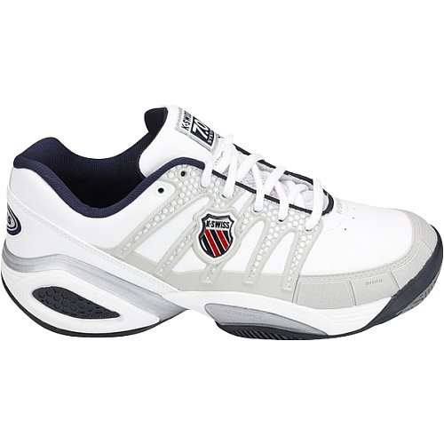 K-Swiss Men's Canvas Defier Ds Tennis Trainers 7 White / Navy / Light Grey / Red