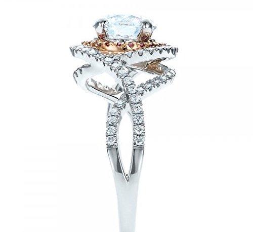 Gowe Halo 2ct Esdomera moissanites massif 9K bicolore Doré Bijoux en or blanc Bague de fiançailles Couleur F Lab Cultivées Diamant