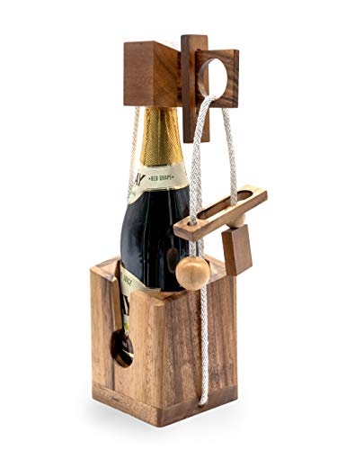 Gift Wine Puzzles to Be Funny Unique Game Puzzle Gifts for Wine Lovers and Adults on Party to Challenges Brain Teaser with Lock Combination of Bottle Think Before Drink ()