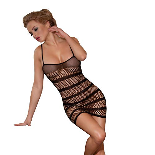 84888218d5 xspice Women s Fishnet Lingerie Mesh Hole Strap Chemise Badydoll Mini  Dress, Black