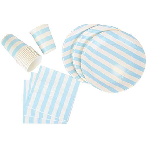 Just-Artifacts-Disposable-Party-Tableware-44pcs-Striped-Pattern-Dining-Set-Round-Plates-Cups-Napkins-Color-VARY-Decorative-Tableware-for-Parties-Baby-Showers-and-Life-Celebrations