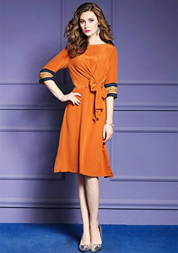 Cotylédons Women`s Robes De Soie Robe Fendue Couleur Unie Occasionnels
