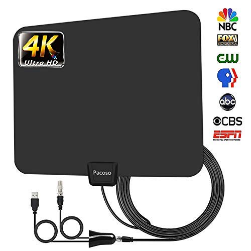 50-100 Miles Range Support 4K 1080p with Detachable Amplifier,and 13.3ft Longer Coax Cable TV Antenna for Digital TV Indoor