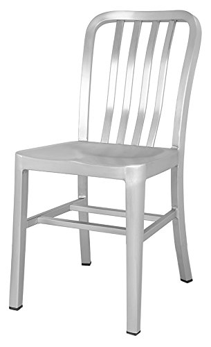 CHAIR DEPOTS Aluminum Chair with Brushed Aluminum finish, 1 Pack