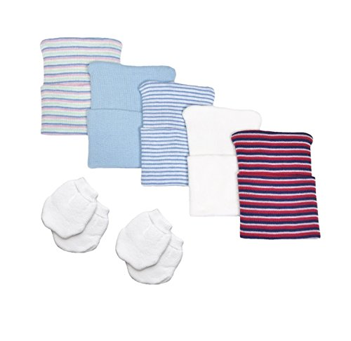 5 Piece Hospital Hat & Mitten Set for Newborn Baby (Boy) by Nurses Choice ()