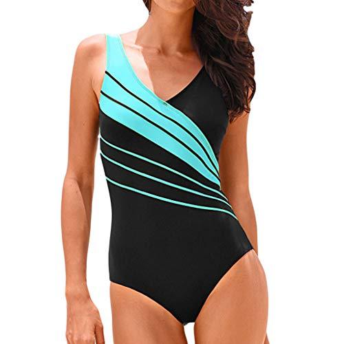 Alangbudu Women One Piece V Neck Padded Gradient Color Tankini Racerback Swimsuits Athletic Training Swimwear Bathing Suit Sky Blue
