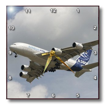 3dRose dpp_97141_3 Wisconsin, Airbus A380 Commercial Airline, Aviation-US50 BFR0071-Bernard Friel-Wall Clock, 15 by 15-Inch