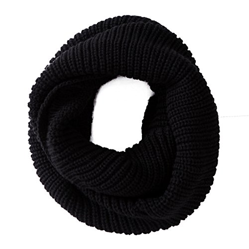 HDE Women's Winter Infinity Scarf Warm Knit Wrap Circle Loop Thick Cowl (Black)