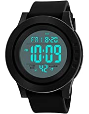 Men's Digital Sports Wrist Watch with Large Face LCD Back Light Military Time Outdoor Waterproof Electronic Casual Alarm Stopwatch- Black