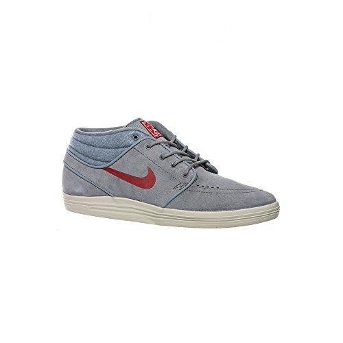 Nike Lunar Stefan Janoski Mid Herren Skateboarding-Shoes Grau / Rot (cool grey gym red light ash grey 060)