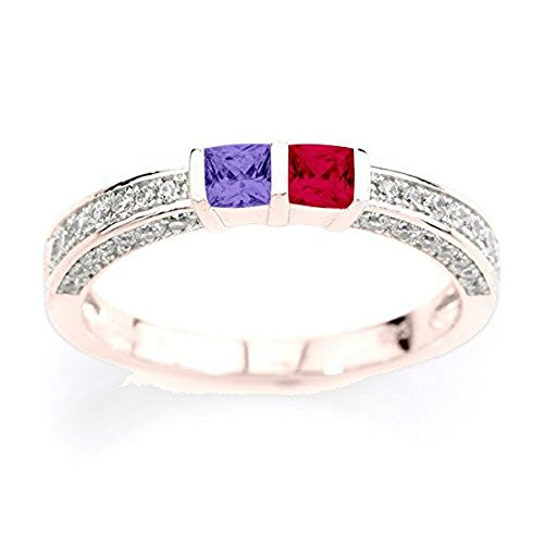 NANA Princess w/CZs on 3 sides Couples 2 stones Ring w/His & Hers Simulated Birthstones - 14k Rose Gold - Size 7.5 by NaNa