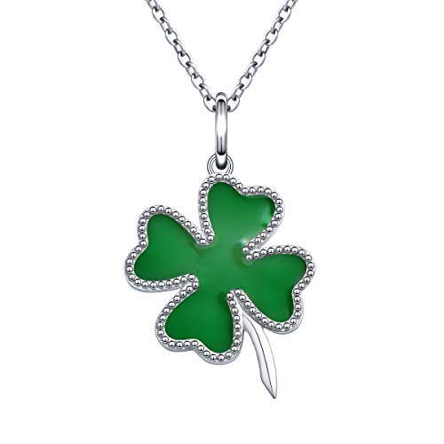 925 Sterling Silver Clover - 925 Sterling Silver Vintage Green Heart Lucky Four Leaf Clover Pendant Necklace for Women Girls Gift, 18