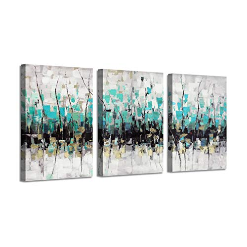 Abstract Artwork Landscape Wall Art: Trees Painting Print on Canvas for ()