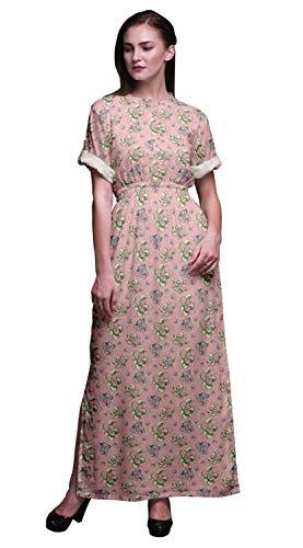 Femme Bimba Rose Manches Cocktail Ouverture Robe Avec D'été Saumon De Kimono Clair8 Pour Latérale Rayon Plage Longue Imprimée DI9WEH2