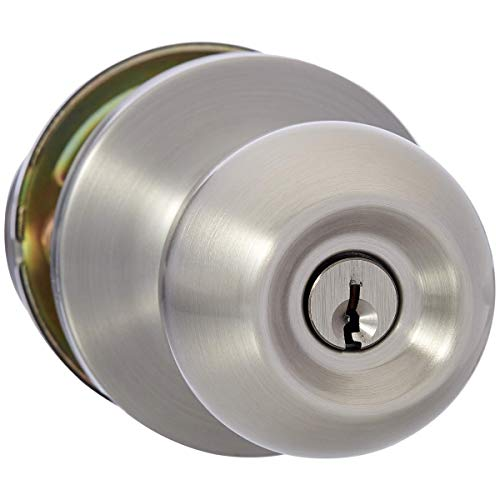 AmazonBasics Entry Door Knob With Lock, Standard Ball, Satin Nickel