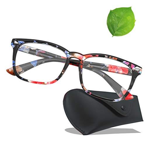 (Blue Light Blocking Glasses Wayfarer Frame- Sleep Better, Reduce Eyestrain & Fatigue When Gaming, Tablet/Phone Reading, TV (Flower))