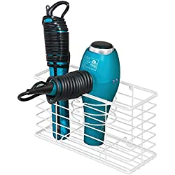 mDesign Modern Metal Wire Bathroom Wall Mount Hair Care & Styling Tool Organizer Storage Basket for Hair Dryer, Flat Iron, Curling Wand, Hair Straightener, Brushes - Holds Hot Tools - White