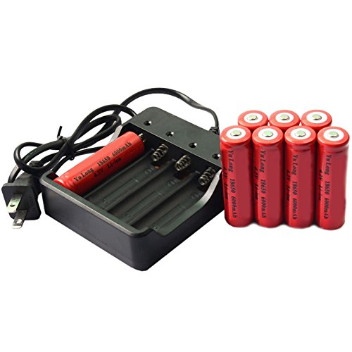 Simply Silver - Rechargeable Battery - 8x 18650 4.2V UF Li-ion 6000mAh Rechargeable Battery for LED Torch + Charger by Simply Silver