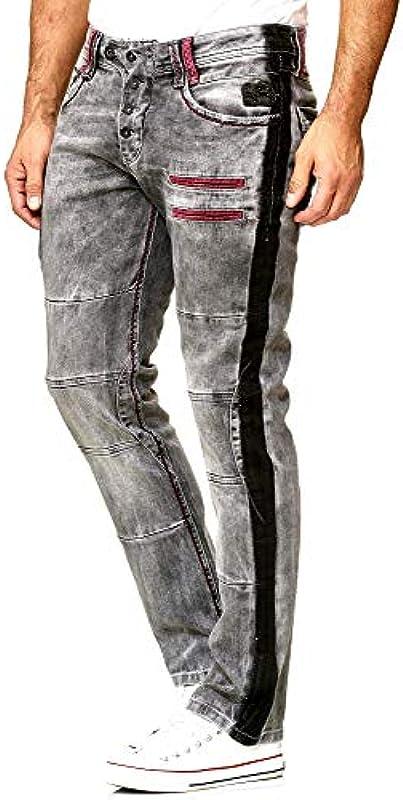 Rusty Neal Designer 98-3 męskie spodnie jeansowe, rozciągliwe, szare, antracytowe: Odzież