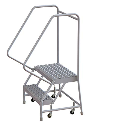 Tri-Arc WLAR102245 2-Step All-Welded Aluminum Rolling Industrial & Warehouse Ladder with Handrail, Grip Strut Tread, 24-Inch Wide Steps