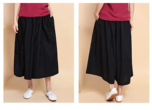 Elastica Gonna Fashion Basic Donna Palazzo Pantaloni Baggy Sciolto Libero Accogliente Ragazza Vintage Vita Tempo Nero Monocromo Estivi Culotte Eleganti tqYOwpBxw