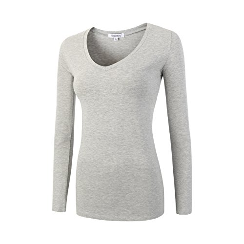 Vetemin Women Basic Fitted Soft Lightweight Long Sleeve Deep V Neck T shirt Tee Heather Gray - Charcoal Heather Deep