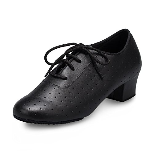 Black L143 Miyoopark Lace ShoesMY up 4cm Comfort Ballroom Salsa Leather Latin Heel Ladies Dance Dance PrRPqx75