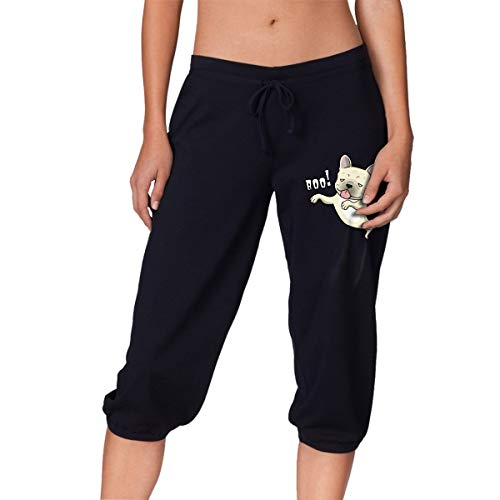Q64 French Bulldog Ghost Boo! Halloween Womens Workout Capri Pants Athletic Running Sweatpants Black