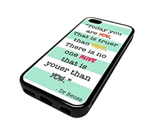 Apple Iphone 5 or 5s Case Cover Cute Cute Wise Saying Quote Teal Stripes Unique Design Black Rubber Silicone Teen Gift Vintage Hipster Fashion Design Art Print Cell Phone Accessories by ruishername