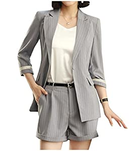 YUNY Women Stylish Pinstripe Notch Lapel Blazer Jacket Shorts Pants Light Grey S
