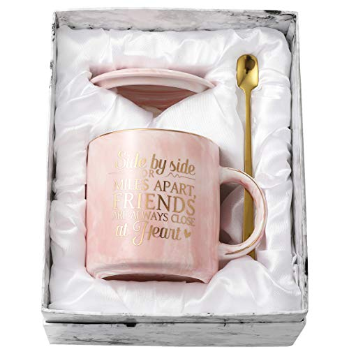 TOTWAY Long Distance Friendship Gifts for Women - Side by Side or Miles Apart Friends are Always Close at Heart - Birthday Gift for Sisters, Best Friend, Besties - 11oz Pink Marble Ceramic Coffee Mug