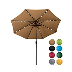 Garden and Outdoor Sundale Outdoor Solar Powered 32 LED Lighted Patio Umbrella Table Market Umbrella with Crank and Push Button Tilt for… patio umbrellas