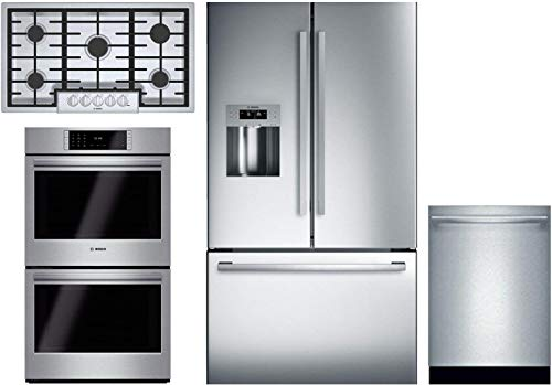 "Bosch 4 Piece Kitchen Appliance Package with B26FT50SNS 36"" Refrigerator, NGM8656UC 36"" Gas Cooktop, HBLP651UC 30"" Double Wall Oven and SHX865YN5N 24"" Built In Fully Integrated D