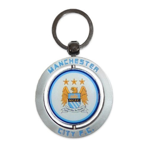 Manchester City Football Club Official Soccer Gift Metal Crest Spin Keyring