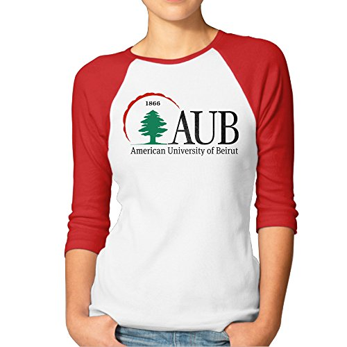 ReBorn Women American Beirut University 3/4 Sleeve Raglan Tee Red S ()
