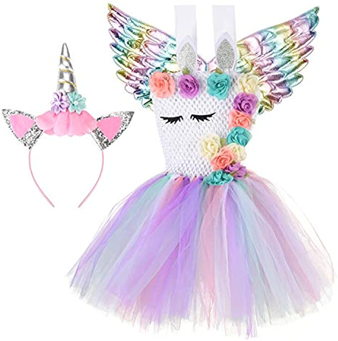 Halloween Unicorn costumes for girls with Headband and Wings (STYLE1, 5-6T)