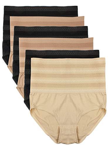 Barbra Lingerie 6 Pack Women's Postpartum C-Section Recovery Slimming Underwear Tummy Control Support Cotton Underwear (L)
