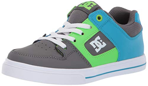 DC Boys' Pure Elastic Sneaker, Grey/Green/Blue, 2 M M US Little Kid