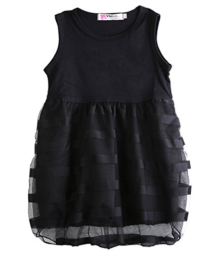 [Child Baby Kids Girls Summer Princess Black Stripe Solid Tulle Party Dress 2~8y (6-7 Years)] (Light Up Black Tutu)