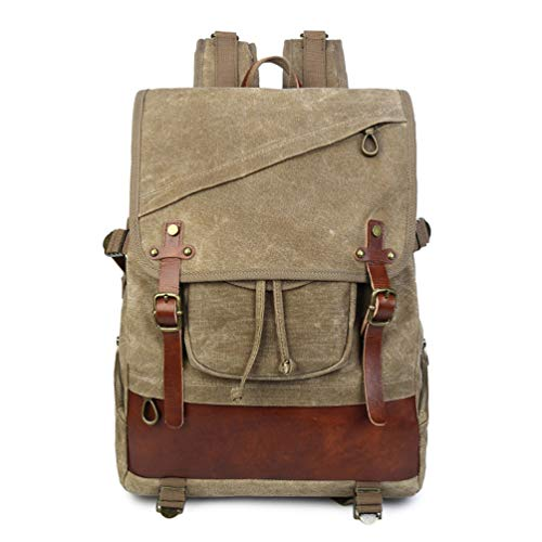YANJINGHONG Waxed Canvas Backpack Men 21L Vintage Canvas Backpack Leather Laptop Specially High Density Thick Canvas Backpack Hiking ()