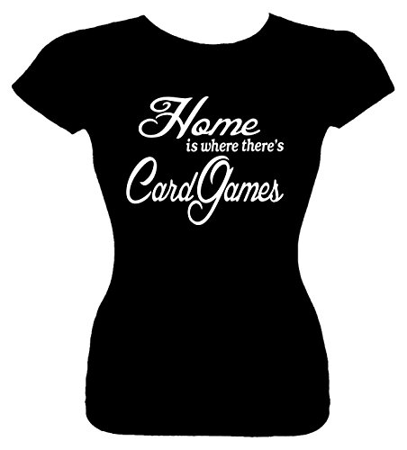 Junior's Size S T-Shirt (Home is where there's Card Games) Fitted Girls Shirt