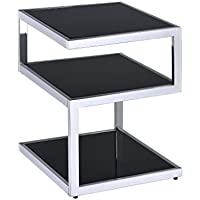 ComfortScape Alyea End Table, Black Glass & Chrome