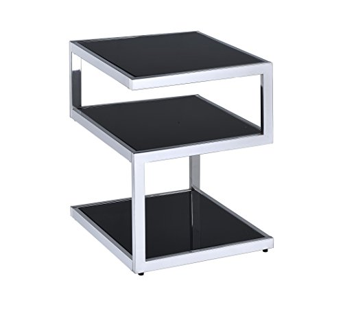(Acme Furniture 81848 Alyea End Table, One Size, Black Glass and Chrome)