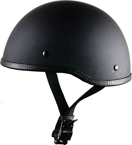 - Bikerhelmets.com -  SOA Inspired Motorcycle Helmet - DOT Approved Ultra Low Profile Beanie - Flat Black No Peak - Medium