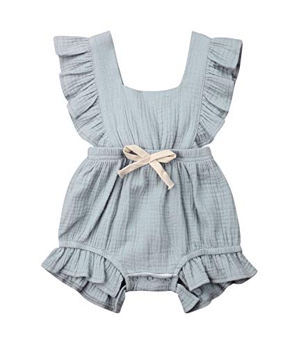 Qiylii Infant Baby Girl Ruffle Sleeve Romper One-Piece Bowknot Cotton Bodysuit Jumpsuit Outfit Clothes (0-6 Months, Gray)
