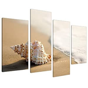 Large beige bathroom canvas wall art pictures shells xl for Bathroom paintings amazon