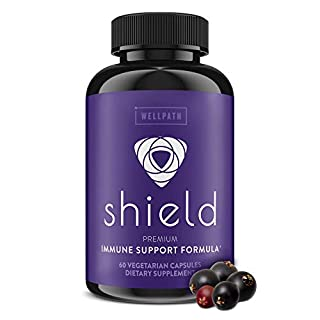 Shield 5-in-1 Immune Support Supplement - Premium Elderberry Immune System Booster with Zinc, Vitamin C, Echinacea, Bee Propolis - 600 mg Sambucus Black Elderberry Pills for Adults - 60 Ct Capsules