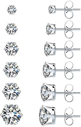 UHIBROS Stainless Steel Stud Earrings Set Hypoallergenic Cubic Zirconia 18K White Gold 316L CZ Earring 6 Pairs 3-8mm