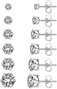 UHIBROS Womens Stainless Steel Stud Earrings Set Hypoallergenic Pierced Cubic Zirconia 18K White Gold Plated 6