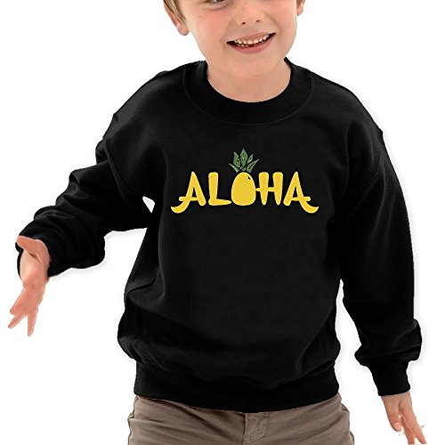 Price comparison product image Puppylol Aloha Pineapple Kids Classic Crew-neck Pullover Hoodie Black 2 Toddler
